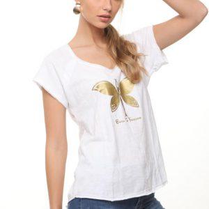 חולצה מירה לבנה פרפר זהב