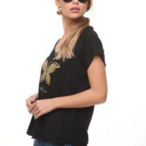 חולצה מירה שחורה פרפר זהב