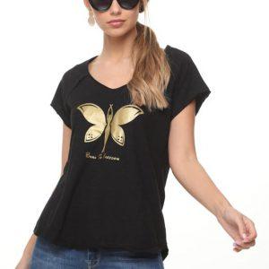 قميص ميرا أسود فراشة ذهبية