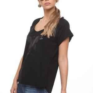 חולצה מירה שחורה פרפר שחור