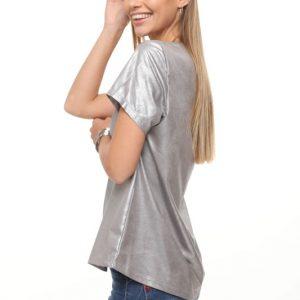 חולצה נויה דמוי עור אפור
