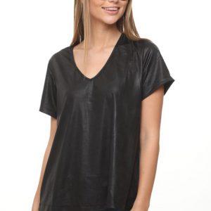 חולצה נויה דמוי עור שחור