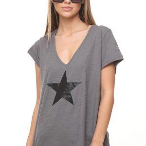 חולצה נופים אפורה כוכב גדול