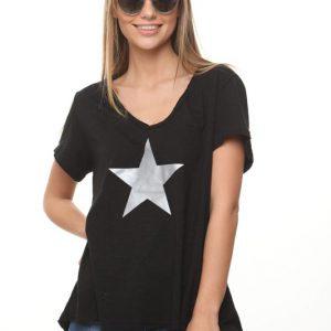 חולצה נופים שחורה כוכב כסף גדול