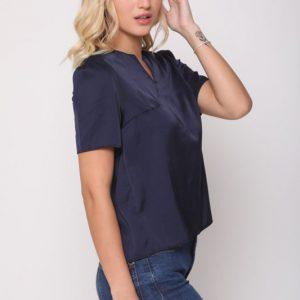 חולצה ניקי סאטן כחול