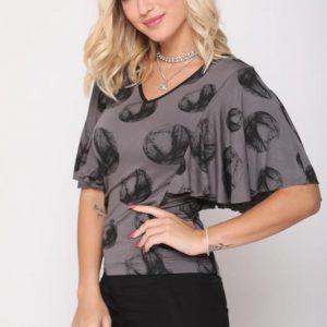 חולצה לינדה עיגול שחור