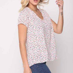 قميص منسوج أبيض زهري