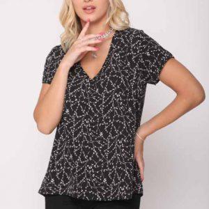 قميص منسوج أسود زهري
