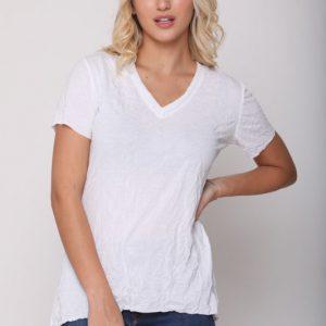 חולצה פוקט לבן מקומט