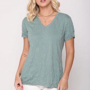 חולצה פוקט ירוק מקומט