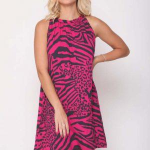 שמלה מגי פוקסיה זברה