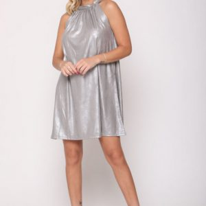 שמלה לני דמוי עור אפור