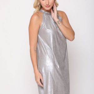 فستان ليني من الجلد الرمادي