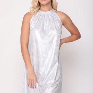שמלה לני דמוי עור כסף