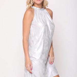 فستان ليني من الجلد الفضي